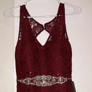 Burgundy Lace/Sequin long dress